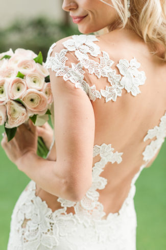 floral lace on back of wedding gown