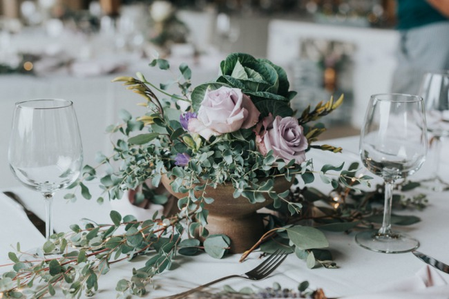 greenery with light purple rose centerpiece