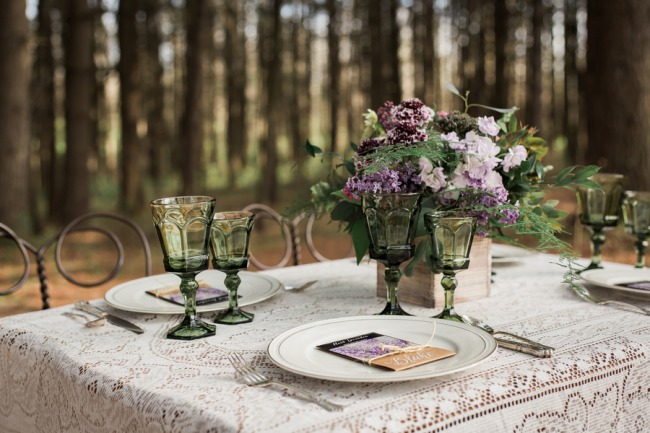 lace table setting with glassware