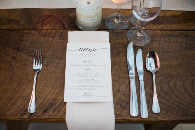 menu stationery with cutlery