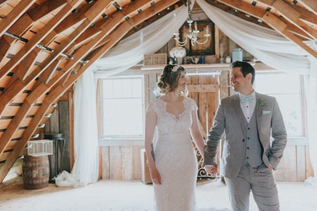 newlyweds in attic of Kildara Farm barn