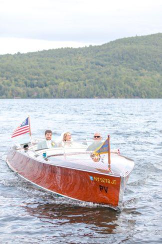 newlyweds in boat on Lake George