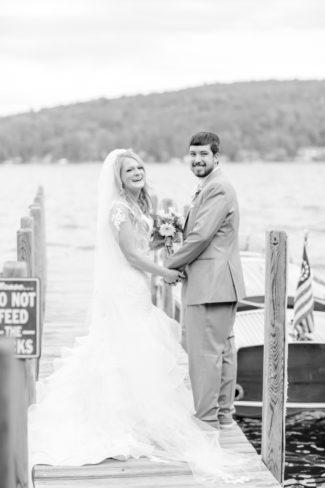 newlyweds on dock