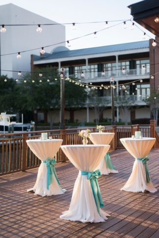 outdoor bar tables with tiffany blue bows