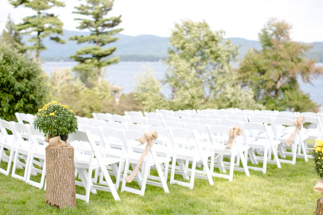 outdoor white chair ceremony seating