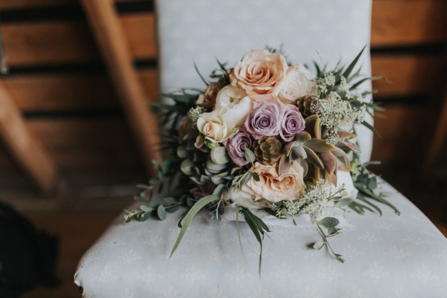 pastel flowers and baby's breath bouquet