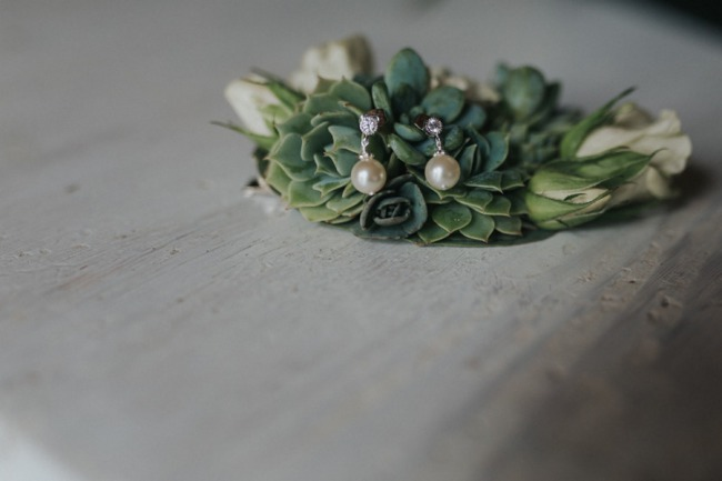 pearl earrings on succulent plant