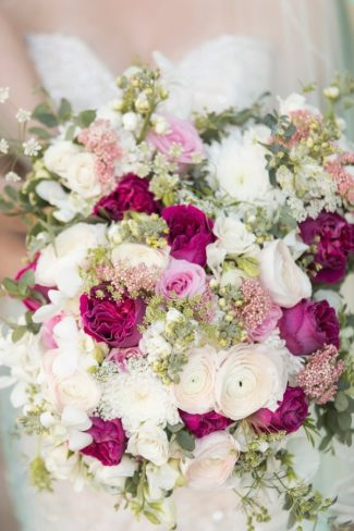 pink, cream, and burgundy bridal bouquet