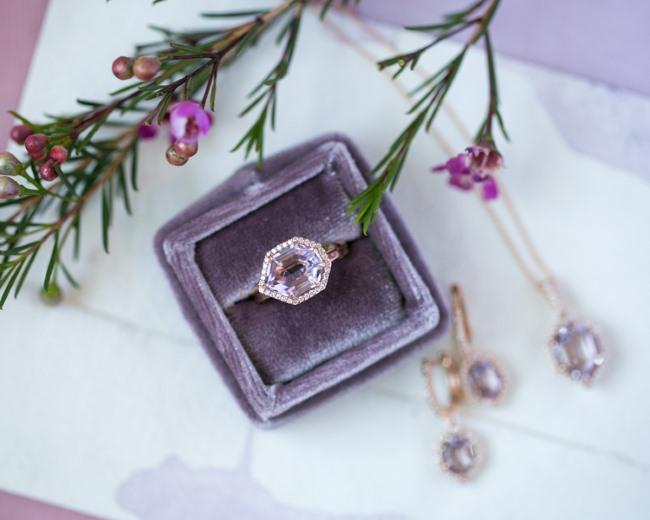 ring in purple velvet box