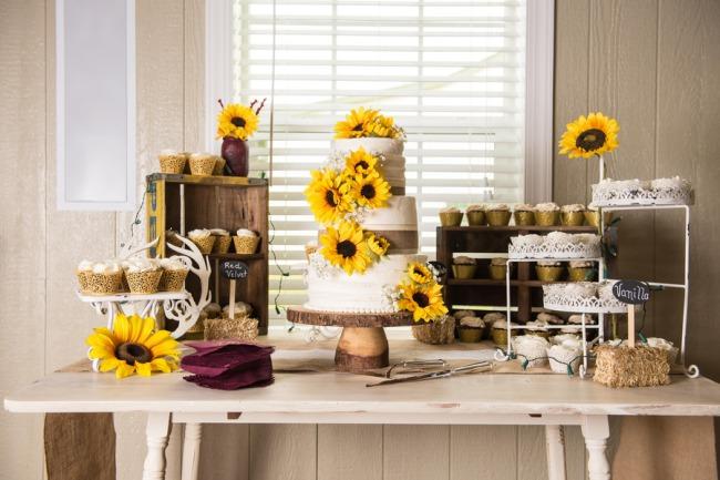 rustic sunflower dessert table