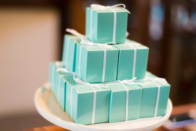stacked tiffany blue boxes on platter