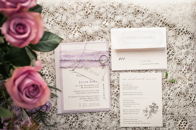 stationery suite on lace tablecloth