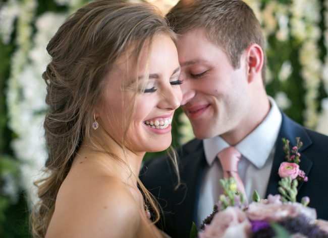 styled bride laughs
