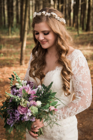 styled bride with bouquet and flower crown
