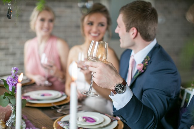 styled groom shows off Shinola watch
