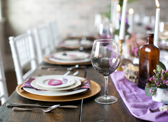 styled purple and minerals tablescape