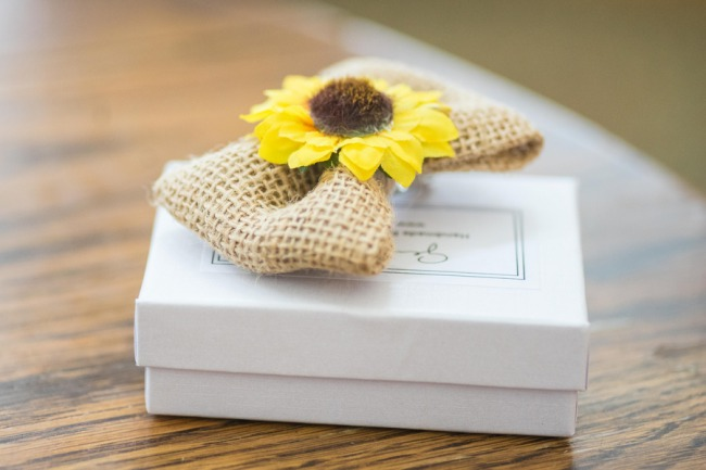 sunflower and burlap boutonniere