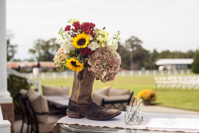 sunflower arrangement in cowboy boot