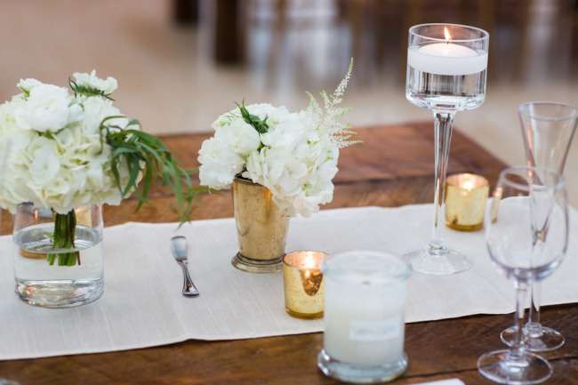 tablescape with metallic votives and table runner