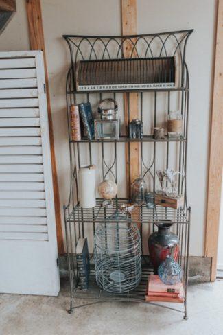 trinkets on baker's rack