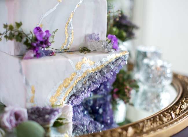 wedding cake with purple rare earth crystal design