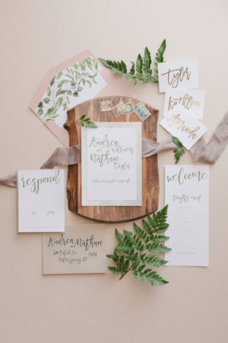 whimsical greenery inspired stationery suite