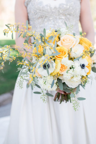 yellow and white bridal bouquet