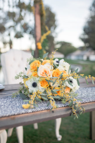 yellow bouquet on table