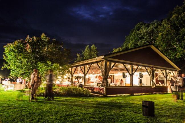 Lareau Farm Inn at night