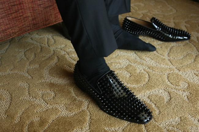 black spike mens Louboutin shoes
