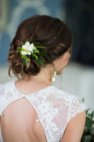 bride's hair with florals