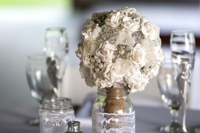 brooch bouquet in vase