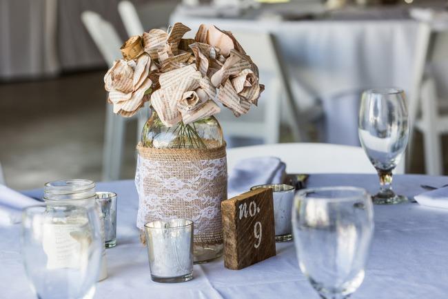 burlap wrapped mason jar with newsprint flowers