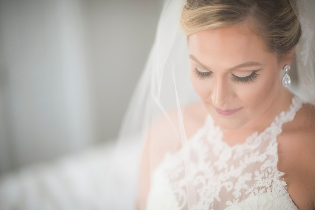 closeup of bride in veil