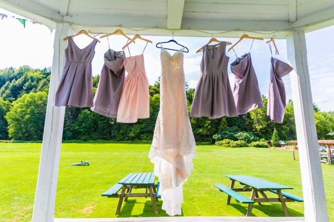 dresses hang from porch