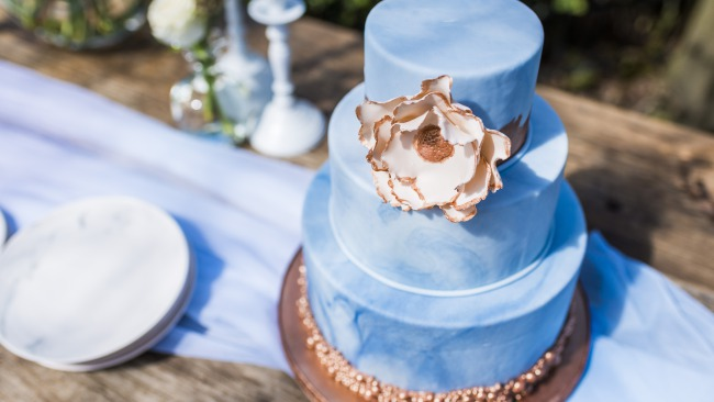 dusty blue tiered wedding cake