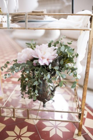 flowers on serving cart