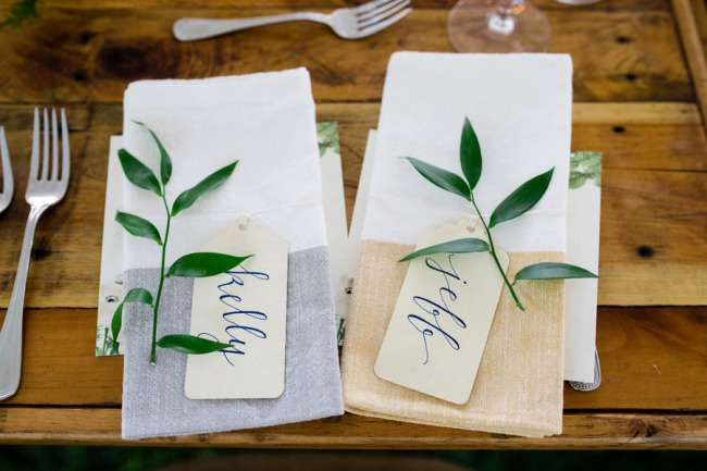 foliage on napkins