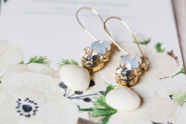 gemstone earrings set in gold