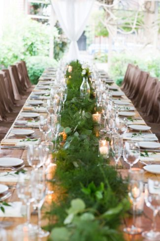greenery foliage down center of table