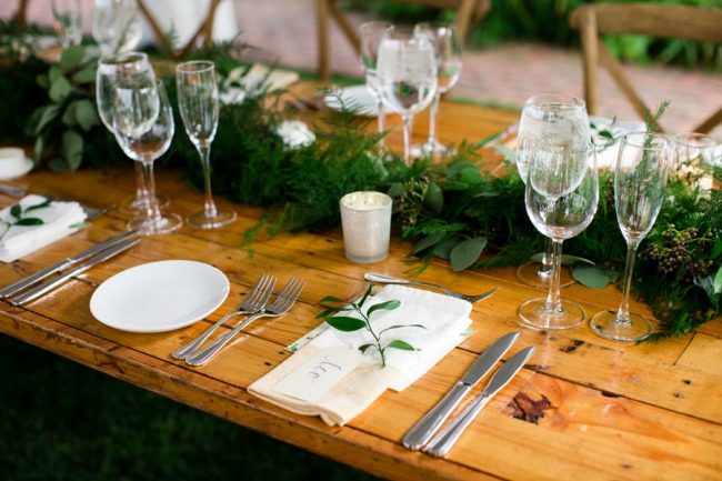 greenery wedding reception table