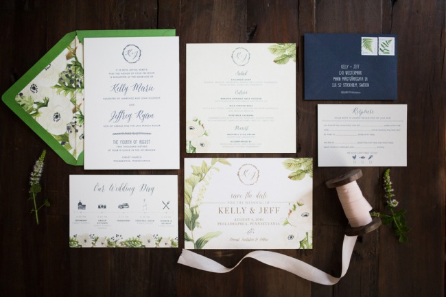 greenery wedding stationery suite