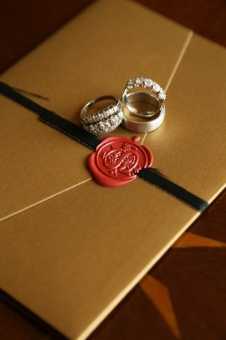 invitation envelope with red wax seal