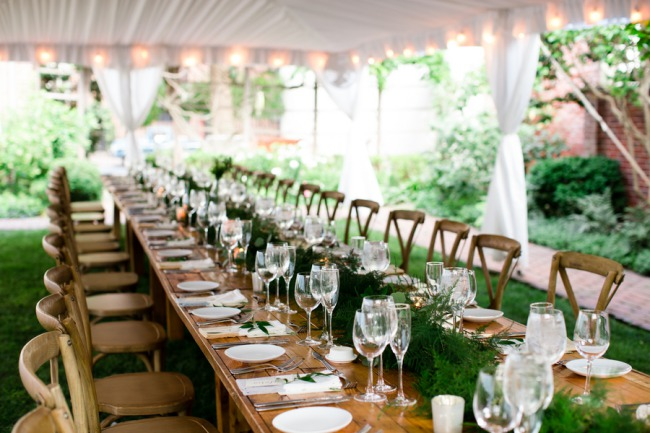 long table under tent