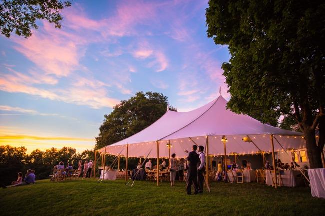 wedding tent at sunset