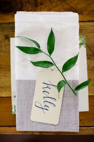 napin and name tag with greenery