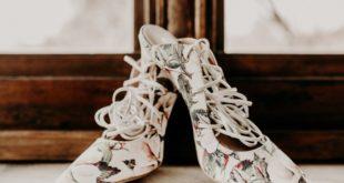 pattern floral bridal heels