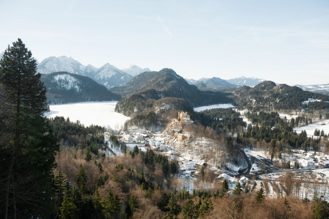 photo of town surrounding Neuschwanstein Castle
