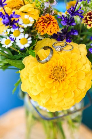 rings on yellow flower