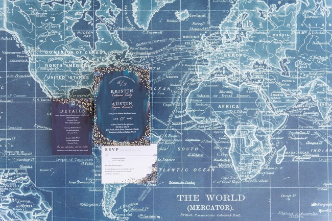 royal blue travel wedding stationery